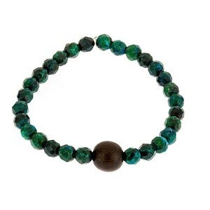 Image of Malachite & Wood Bead Bracelet