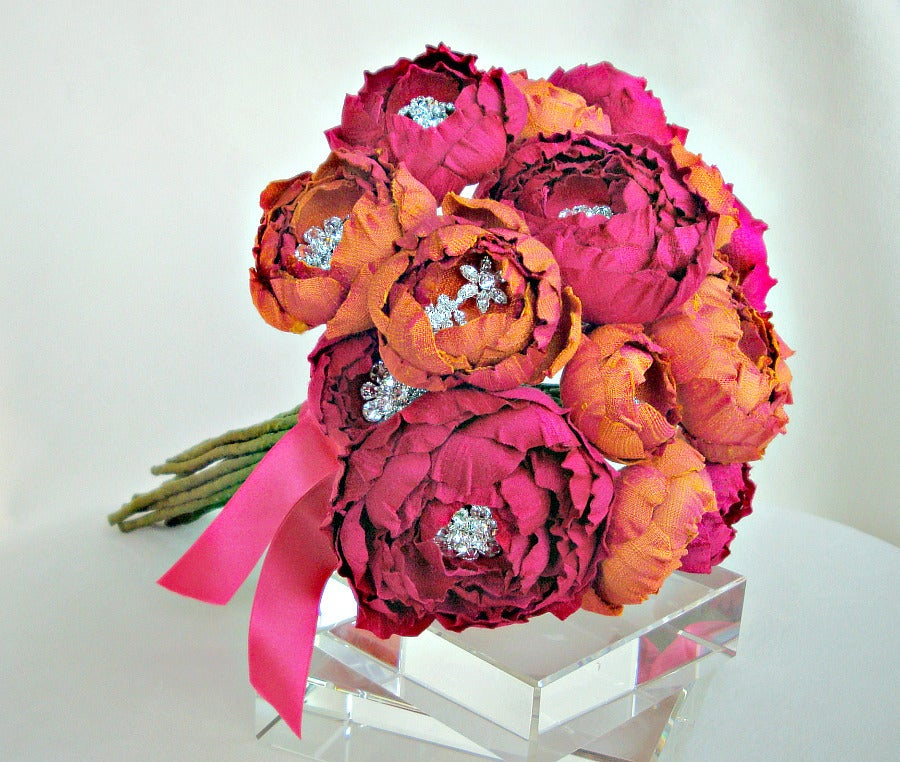 Image of Fuchsia and Orange Crush Silk Dupioni Catala Flower Bouquet