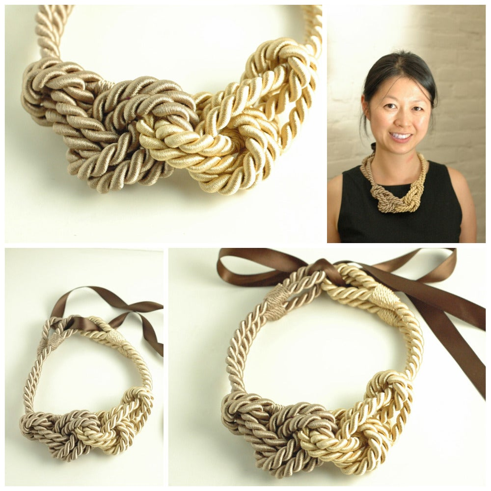 Rope Necklace on Rope Necklace   Gold And Taupe