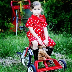 Image of RED POLKA BOW DRESS