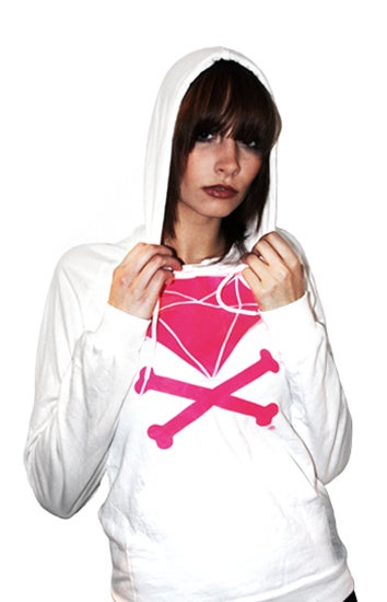 Image of Diamond &amp; Crossbones Hoodie (White/Hot Pink)