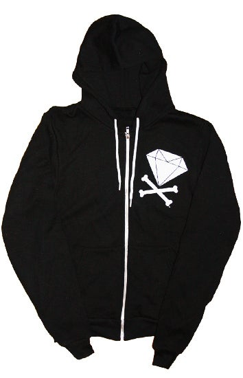 Image of Diamond &amp; Crossbones Zip-Up Hoodie (Black/White)