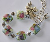 Image of Freshwater pearls &amp; Lampwork in Sterling Silver Bracelet