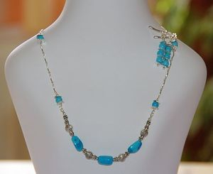 Image of HANDMADE SLEEPING BEAUTY TURQUOISE 925 Silver Necklace/Bracelet & Earrings