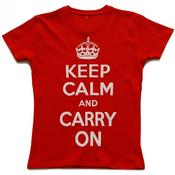 Image of Keep Calm and Carry on Women's T-shirt, Red