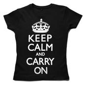 Image of Keep Calm and Carry on Women's T-shirt, Black