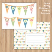 Image of happy happy Printable Notecard Set