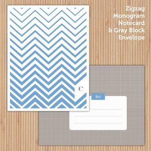 Image of Sky Zigzag Printable Stationery Set