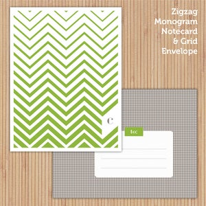 Image of Green Zigzag Printable Stationery Set