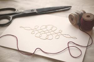 Image of Calligraphy Flourish Hand-stitched 5x7 Framable Art