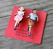 Image of Dick and Jane Brooch Set