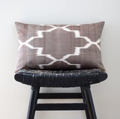 Image of BROWN IKAT Silk Cotton 50 x 30 cm, 20 x 12 inch, Cushion Cover, Throw Pillow