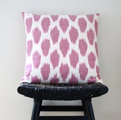 Image of Pink Dot Uzbek Ikat, Silk and Cotton Cushion Cover, Pillow, 45 x 45 cm, 18 inch