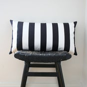 Image of BLACK WHITE STRIPES Cotton Pillow Cover 63 x 34 cm