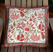 Image of Anokhi Cream Unbleached Cotton Hand Block Printed Floor Cushion Cover 60 x 60 cm, 24 inch