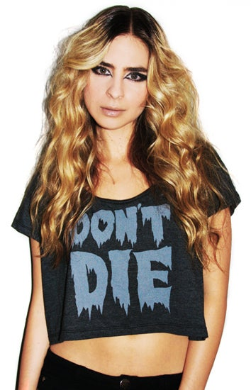 Image of Don't Die Crop Top (Heather Black)
