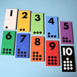 Image of Vintage Wooden 1 to 10 Number Puzzle