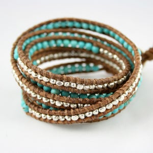 Image of New. Faceted Nuggets Sterling Silver Turquoise Five Time Leather Wrap Bracelet.