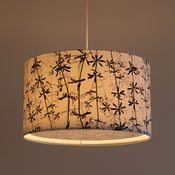 Image of Goose grass print white cotton lampshade with diffuser 