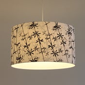 Image of Goose grass screen print on white cotton drum lampshade // made to order lampshade