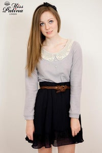 Image of Miss Patina Lace Peter Pan Collar Jumper with Open Back (light grey)