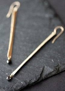 Image of Modern Black Diamond Earrings 