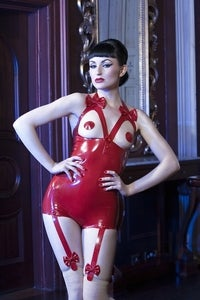 Image of Open bust bow playsuit
