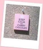 Image of Keep Calm and Carry Chocolate Scrabble Tile Pendant