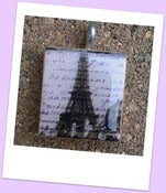 Image of Vintage Eiffel Tower Scrabble Tile Pendant