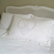 Image of White Monogram Pillowcase