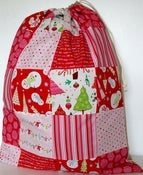 Image of Patchwork and Linen Santa Sack             ~ Raspberry Frosty ~
