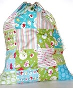 Image of Patchwork and Linen Santa Sack ~Lime Frosty