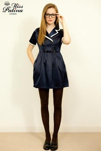 Image of Miss Patina Smart Vintage Inspired Double Breasted Dress (Navy blue)