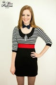 Image of Smart Contrast Colour Dress with Black Collar