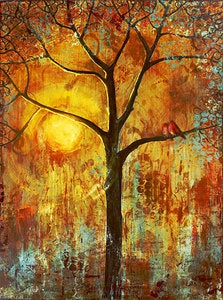 Image of Red Birds Tree Signed Print