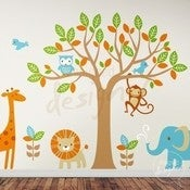 Image of Vinyl Wall Decal Safari Playland - Elephant, Giraffe, Owl, Monkey, Lion 
