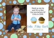 Image of Boy Cupcake Party Invitation or Announcement