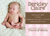 Image of Pinky Stripes Birth Announcement