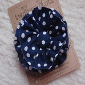 Image of messy flower hair clip-navy dots
