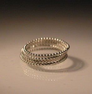 Image of sterling silver beaded stacking rings