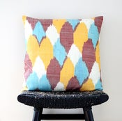 Image of FOUR COLOUR Uzbek Ikat, Silk and Cotton Cushion Cover, Pillow, 45 x 45 cm, 18 inch