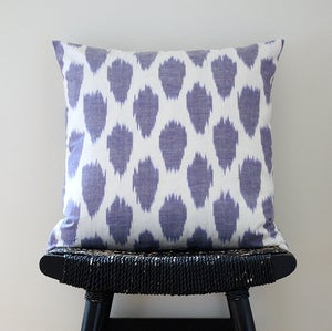 Image of Purple Dot Uzbek Ikat, Silk and Cotton Cushion Cover, Pillow, 45 x 45 cm, 18 inch