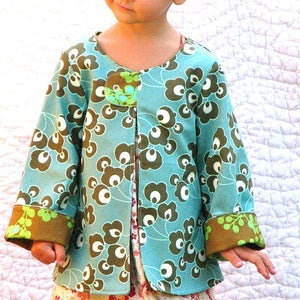 Image of The Swing Coat in aqua bloom