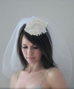 Image of Ava - Illusion veil & alencon lace headpiece