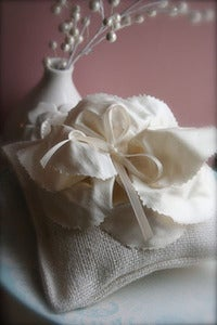 Image of Rustic Ring Pillow with Handmade Peony Silk Flower