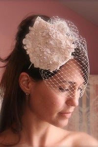 Image of The Lovely - Vintage Alencon Lace Headpiece paired with our Simple Birdcage Veil