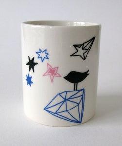 Image of Happy days - Blue Diamant bird - small vase/tea light holder