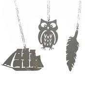 Image of Ltd. Edition Pirate Ship/Owl/Feather Necklaces and Earrings made from a recycled GREY vinyl record.