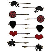 Image of Hairpins made from recycled vinyl records.