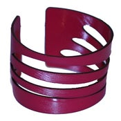 Image of Waves Bracelets cut out of recycled BLACK and RED vinyl records.